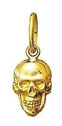 skull caveira cranio ouro pingente medalha 1.8 cm ouro 18k