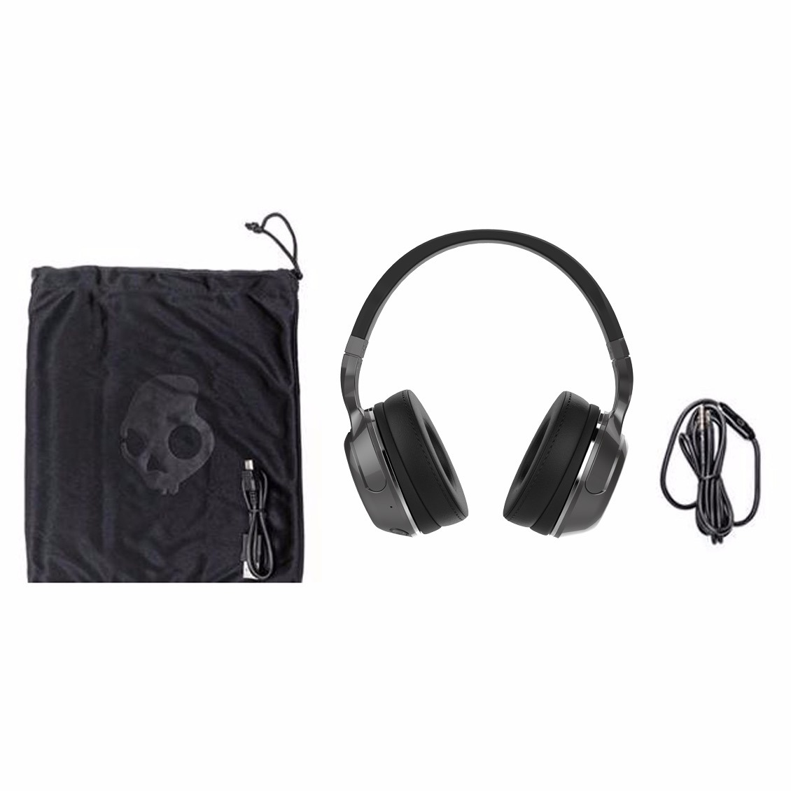 f73ab0f9f52 Details about Skullcandy Hesh 2 Over-Ear DJ Style Stereo Headphones w/ Wired  Mic Black/Silver