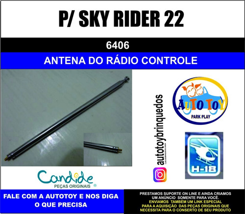 sky rider 22  6406 - h-18 - antena do controle  remoto