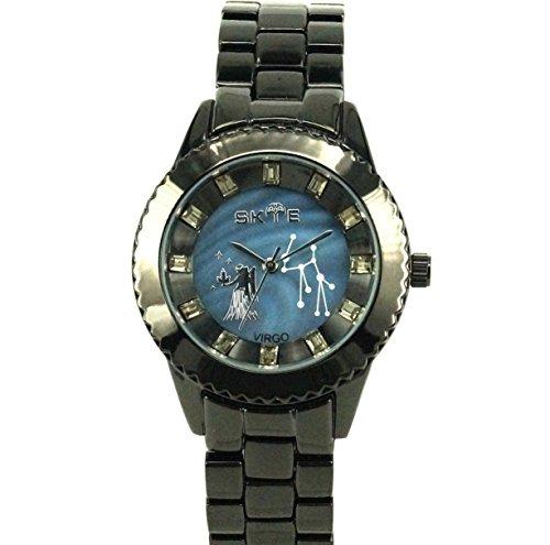 Cuarz Dial Virgo Reloj Negro Mop De Horóscopo Skye Glow Lady BxCrdoe