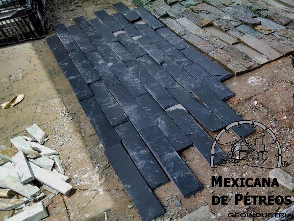 Slate nacional negro imperial para acabados muros for Precio granito nacional m2
