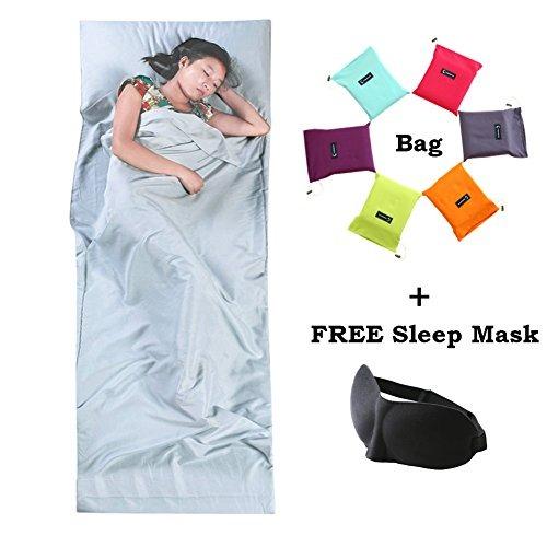 Sleeping Bag Liner Ligero De Viaje Camping Hoja Con Máscara ...