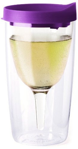 slide púrpura tapa superior vino2go 10 oz de plástico vaso