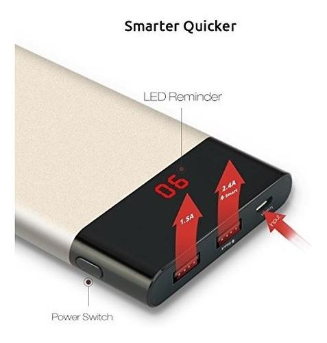 slim power bank 10000mah, pisen cargador portátil de sali...