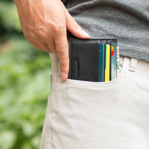 slim titular de la tarjeta de crédito de cuero genuino carte