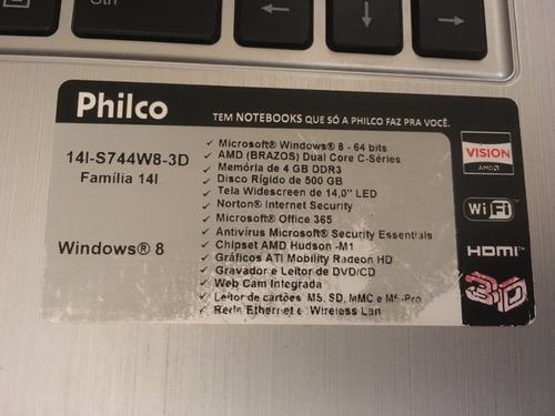 slimbook philco 4gb- 500gb - tela 14.0- web cam integrada