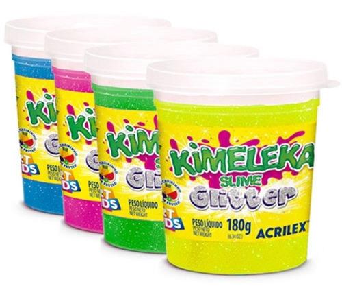 slime kimeleca glitter unidade 180g acrilex lavavel