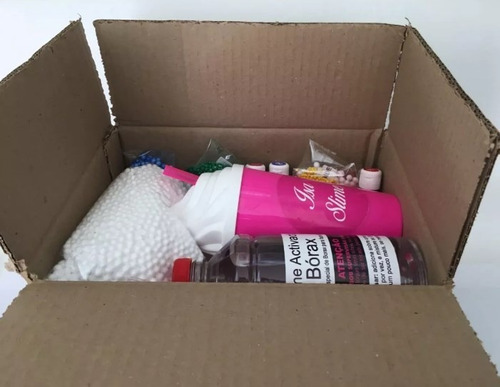 slime kit para fazer- cola bórax perolas de isopor + brindes