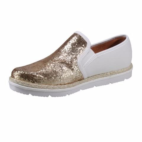 168a6a9aae Slip On Feminino Vizzano 1212206 Branco Dourado Glitter - R  79