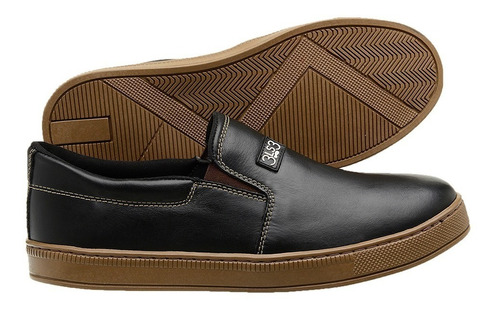 slip on masculino casual 3ls3 couro