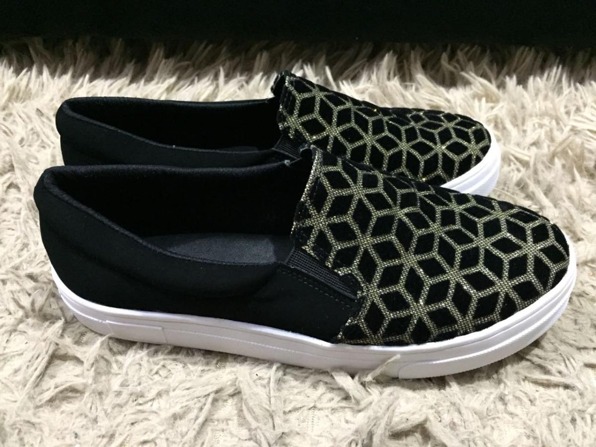 898ce83d70 sliper feminino tenis preto brilho calçados feminino confort. Carregando  zoom.
