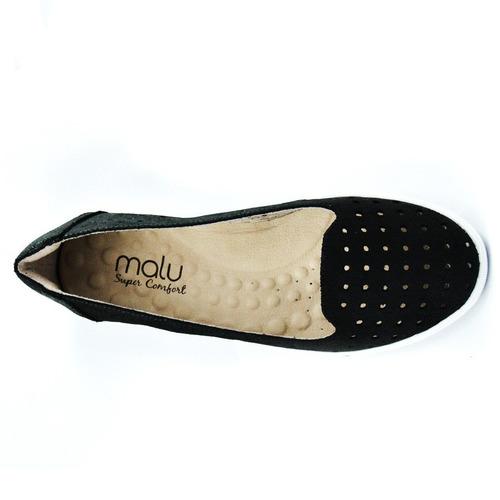 slipper malu super comfort nobuck preto carol 160011-69