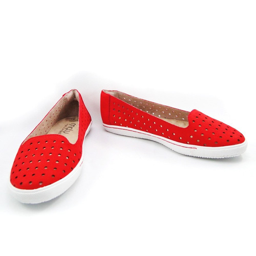 slipper malu super comfort nobuck vermelho carol 160011-28