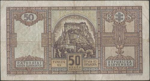 slovaquia 50 korun 15 oct 1940 p9a