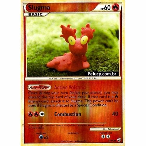 slugma - fogo foil - 67/90 holografica - pokemon card game