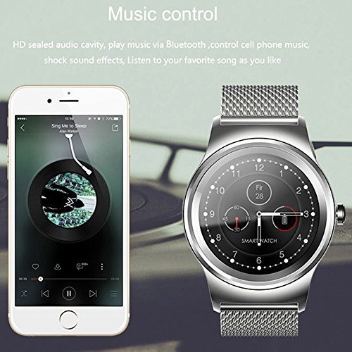 sma-round men smart watch para android y iphone, bluetooth