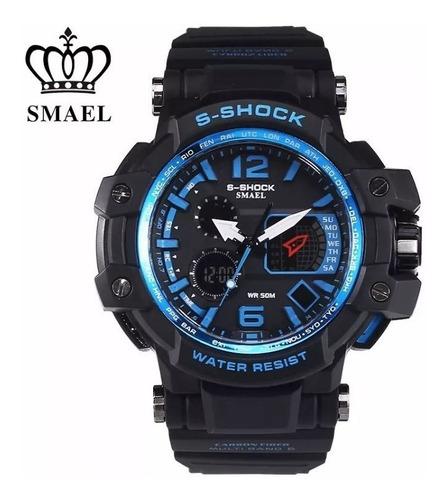 smael relógio masculino preto / azul 1509