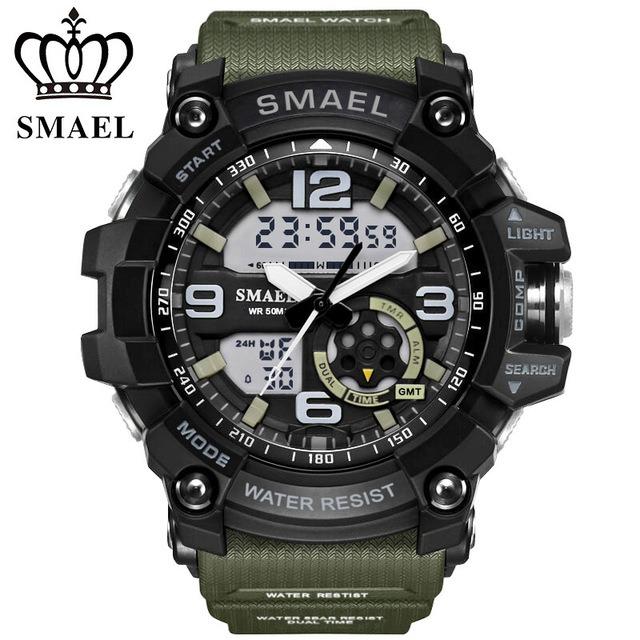Reloj Impermeable Sport Analógico Dual Led Smael Military nk8wPX0O