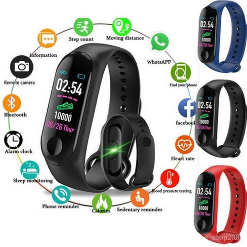 smart band watch m3 ritmo cardiaco podometro presion sport