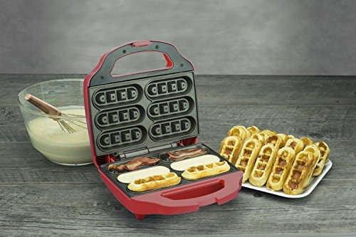 smart planet bnb1bw tocino nación bacon waffle maker rojo
