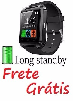 a5418a38dce Smart Relogio Bluetooth Watch U8 Android Iphone 5 6 S5 Preto - R  79 ...