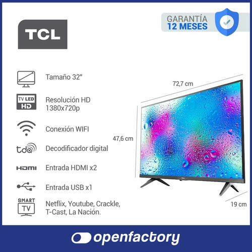smart tv 32 plg tcl l32s6 led hd hdmi usb netflix youtube