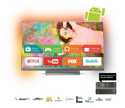 smart tv 4k 55 philips android mod. 55pug8513/77 ultraplano