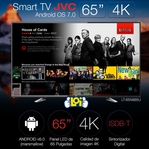 smart tv 65' 4k ultra hd jvc quad core gtía 3 años loi