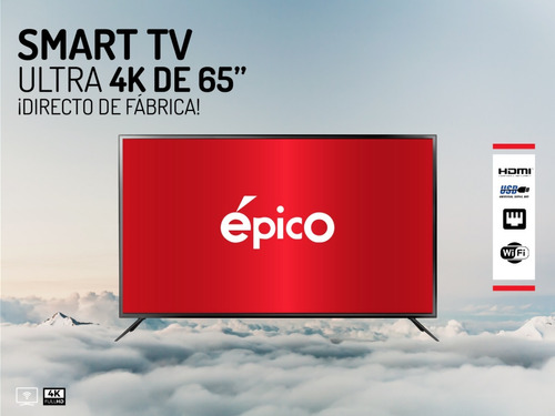 smart tv 65 pulgadas 4k ultra hd epico soporte y cable