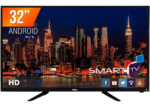 smart tv android led 32'' hd philco ph32b51dsgwa hdmi usb