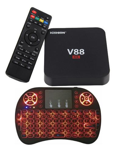 smart tv box android 7 2gb de ram + teclado netflix youtube