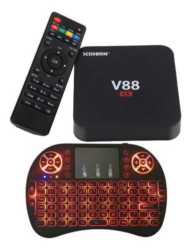 smart tv box android 7 netflix 1gb ram 8gb de rom + teclado