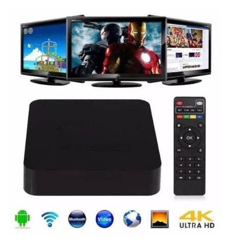 smart tv box android tv full hd 4k quad core + teclado wifi