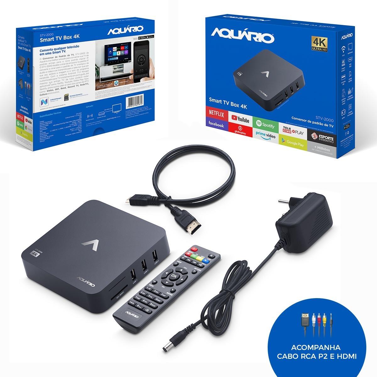 Smart Tv Box Com Netflix, Youtube, Globo Play, Telecine Play