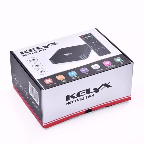 smart tv box kelyx net tv klvt01 4k remoto quad 8gb wifi