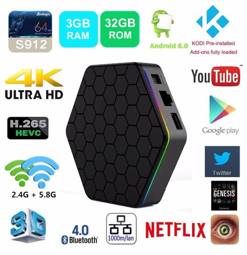 smart tv box t95z plus 8 core 3g 32g android 6 bt + teclado