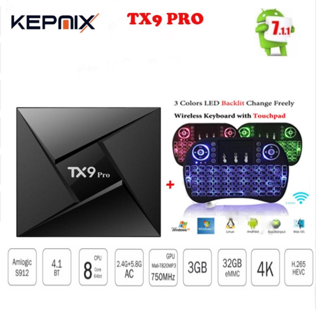 Smart Tv Box Tx9 Pro Octacore 3gb+32gb Bluetooth Teclado Led