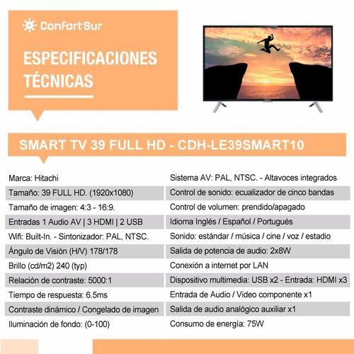 smart tv hitachi 39 full hd wifi netflix imagen + envio **10