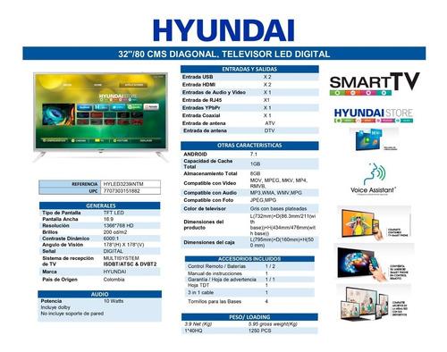 smart tv hyundai  32    gris hyled3239intm