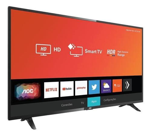 smart tv led 32  hd aoc 32s5295/78g smart com netflix, youtube e globoplay, wifi, 3 entradas hdmi, 2 entradas usb, 60hz