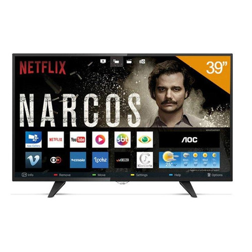 smart tv led 39 aoc le39s5970, hd, 3 hdmi, 2 usb