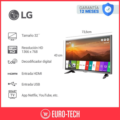 smart tv lg 32 32lj600b hd hdmi usb netflix ips wifi pc gtia