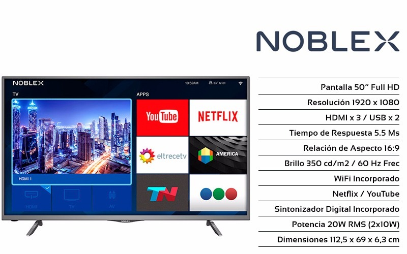 fd343ebee smart tv noblex 50 ea50x6100 led full hd quad core. Cargando zoom.