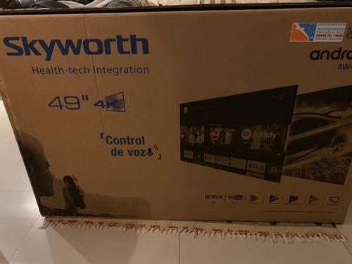 smart tv skyworth de 49  4k + control de voz!