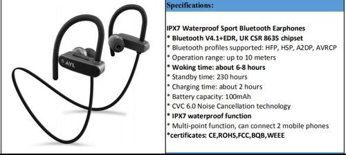 smartautohome audífonos deportivos bluetooth c/ipx7