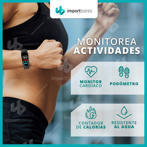 smartband fitband reloj deportivo calorias pulso oximetro monitor cardiaco pulsaciones presion control de fatiga