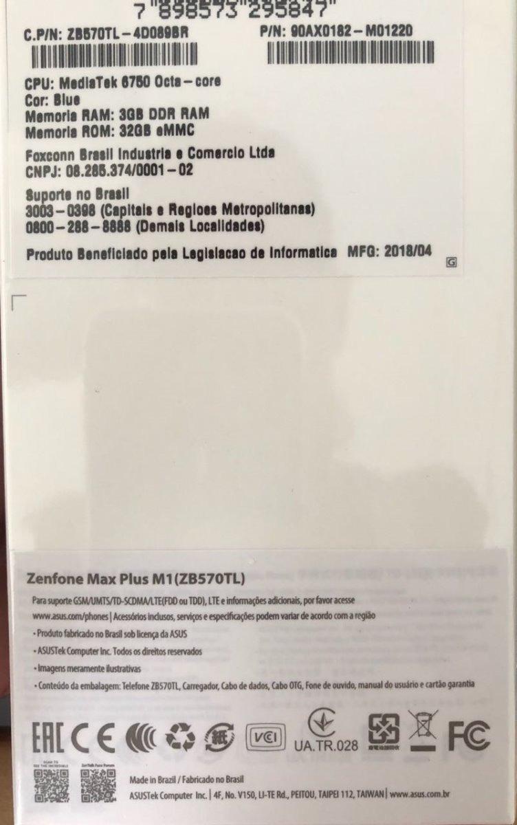 Smartphone Asus Zenfone 4 Max Plus 32gb Tela 5,7 Nf Zb570kl