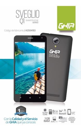 smartphone ghia sveglio q1 5'' android 6  1gb 8gb negro