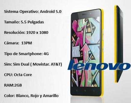 smartphone lenovo 2gb 16 gb 5.5  android 5.0 13 mp