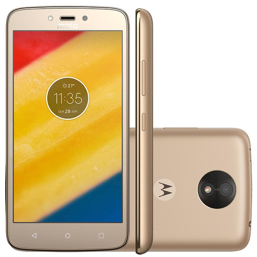 smartphone moto c plus xt1726 ouro - tv, dual,  4g, tela 5